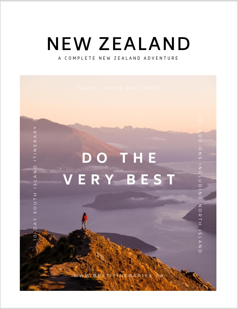 NEW ZEALAND GUIDE & ITINERARY   Focused on the South Island, this interactive and customizable itinerary has New Zealand's top hikes, photography spots, and authentic experiences built into a 10-day itinerary with rainy-day alternatives and food and lodging recommendations. Let the comprehensive google maps guide the way and the 20+ additional add-ons help you customize the itinerary to you for your best trip.   LEARN MORE