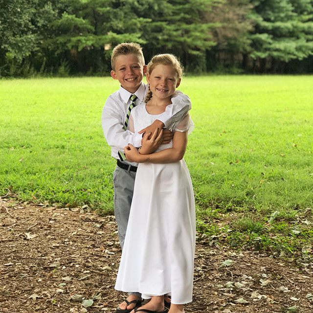 My sweet preemie twins were baptized yesterday, in the same font that I was baptized in 27 years ago, by their dad who was baptized by my dad 13 years ago. It was a very sweet day and they were so happy to share it with our close friends and family! 💕#lds #eightisgreat #twins #preemiestrong #ctr