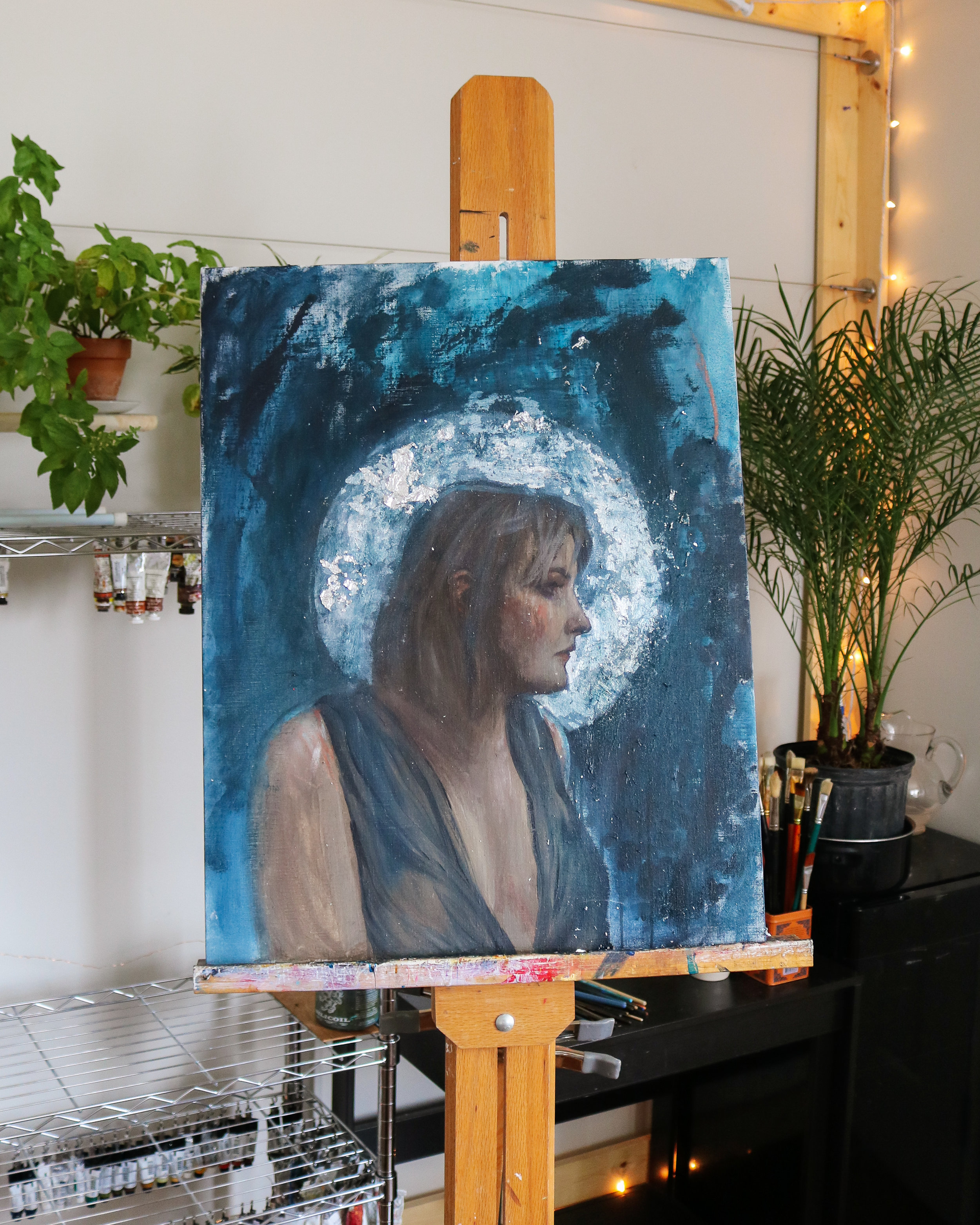Painting I'm working on at the moment. I need to will myself to finish it very soon. I've lost the momentum/thrill with it. And yet, it holds a lot of promise.  * fingers crossed *