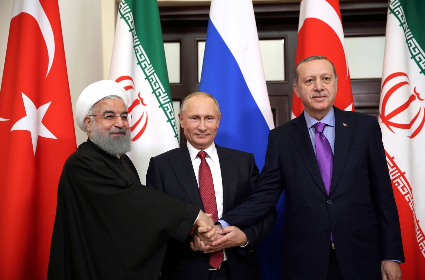 An extraordinary alignment of nations as prophesied with their military on the border of Israel. Iran, Russia, Turkey on their alignment in Syria.  Rouhani, Putin & Erdogan in Sochi, 2017