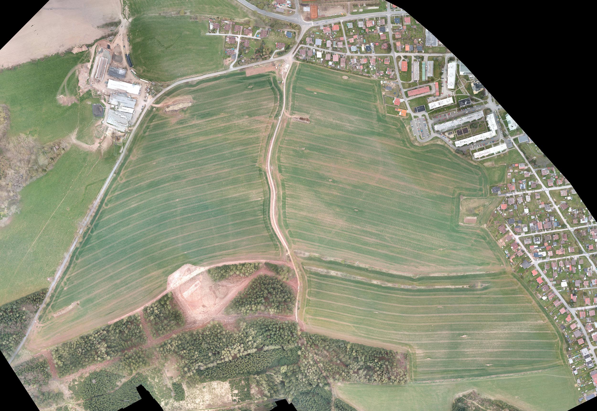 Drone image of farm fields