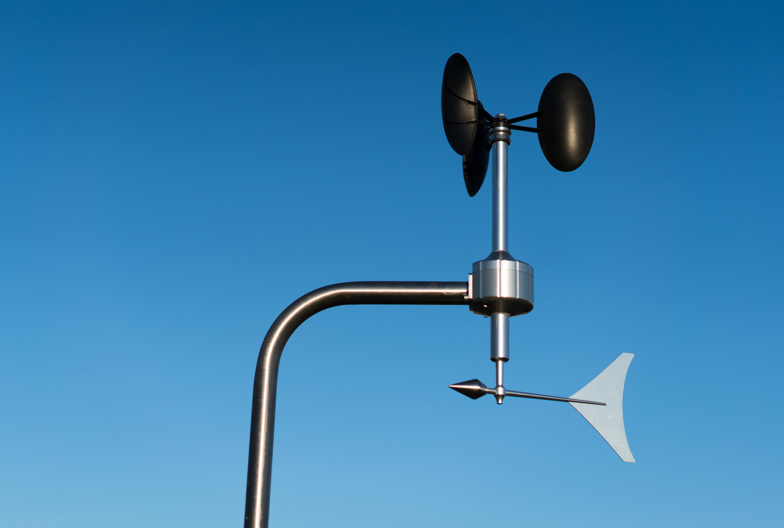 Anemometer and wind vane in clear skies