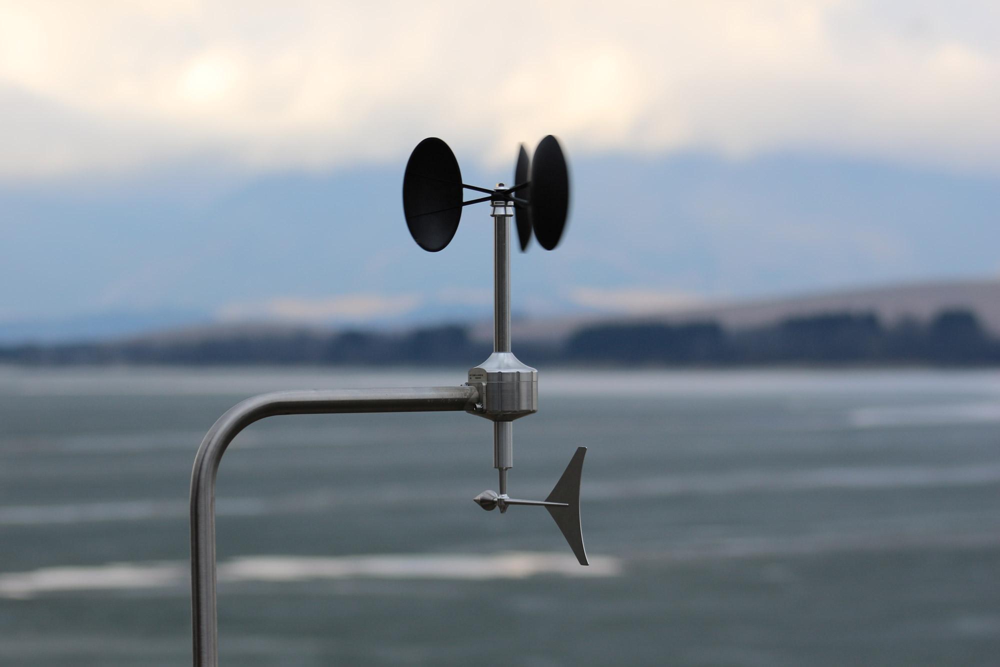 Anemometer on a coastline