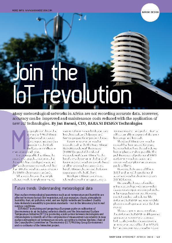 """ Join the IoT Revolution "" article taken from the  Hydromet AFRICA ExpoGuide  as published by  Varysian ."