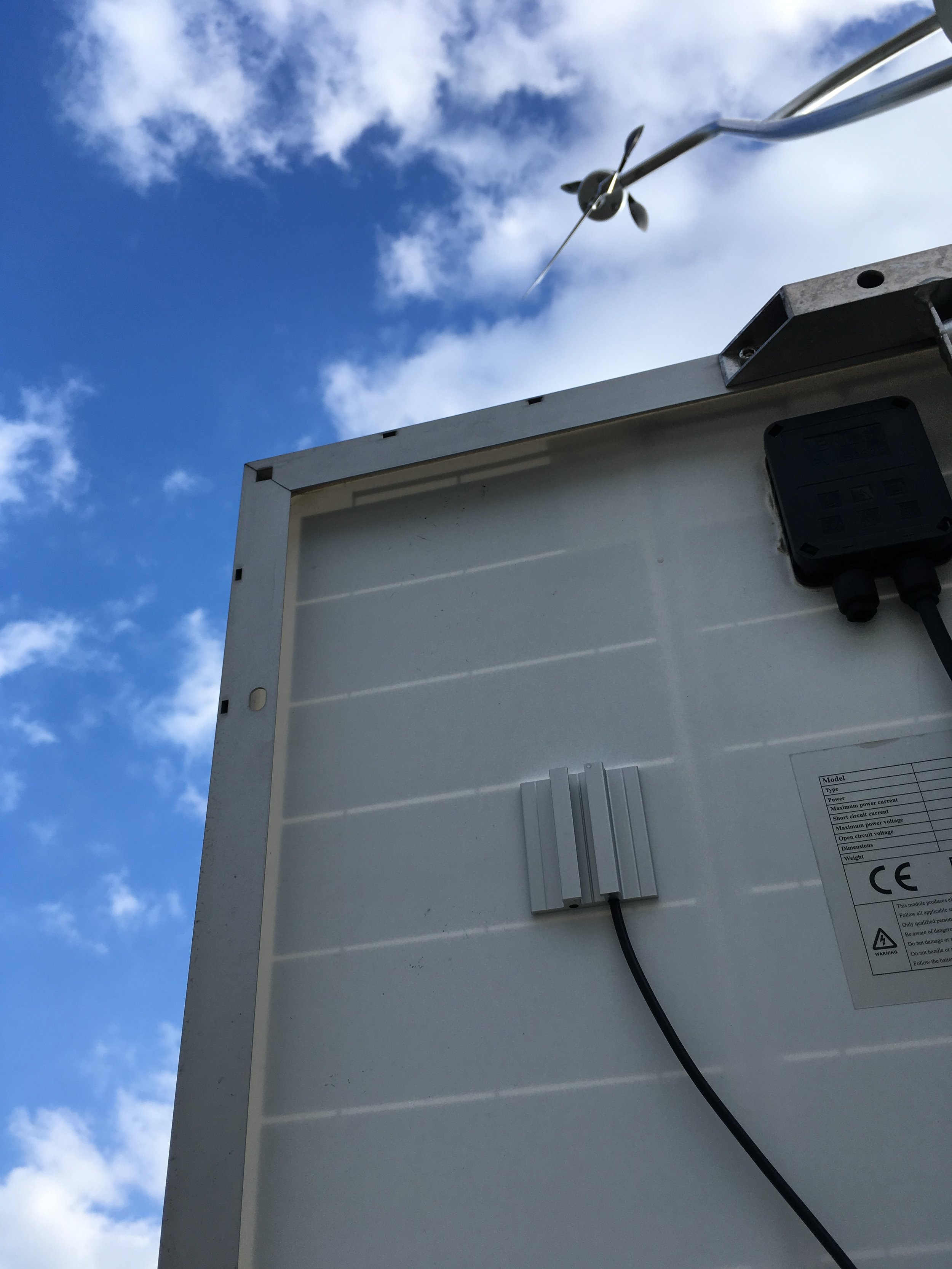 SolarTemp PT100 on a solar panel
