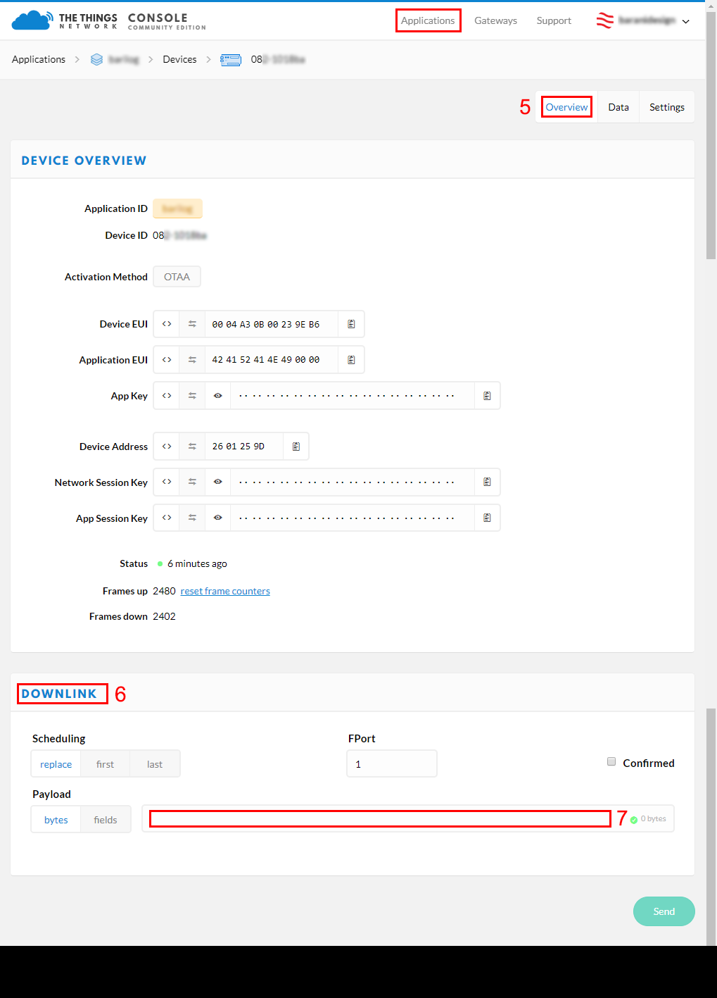 3. under device info, scroll down and fill out the downlink section and click send