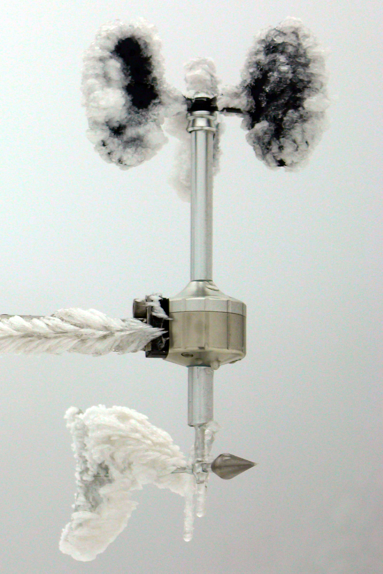 Heated anemometer MeteoWind® 2 in extreme winter icing.