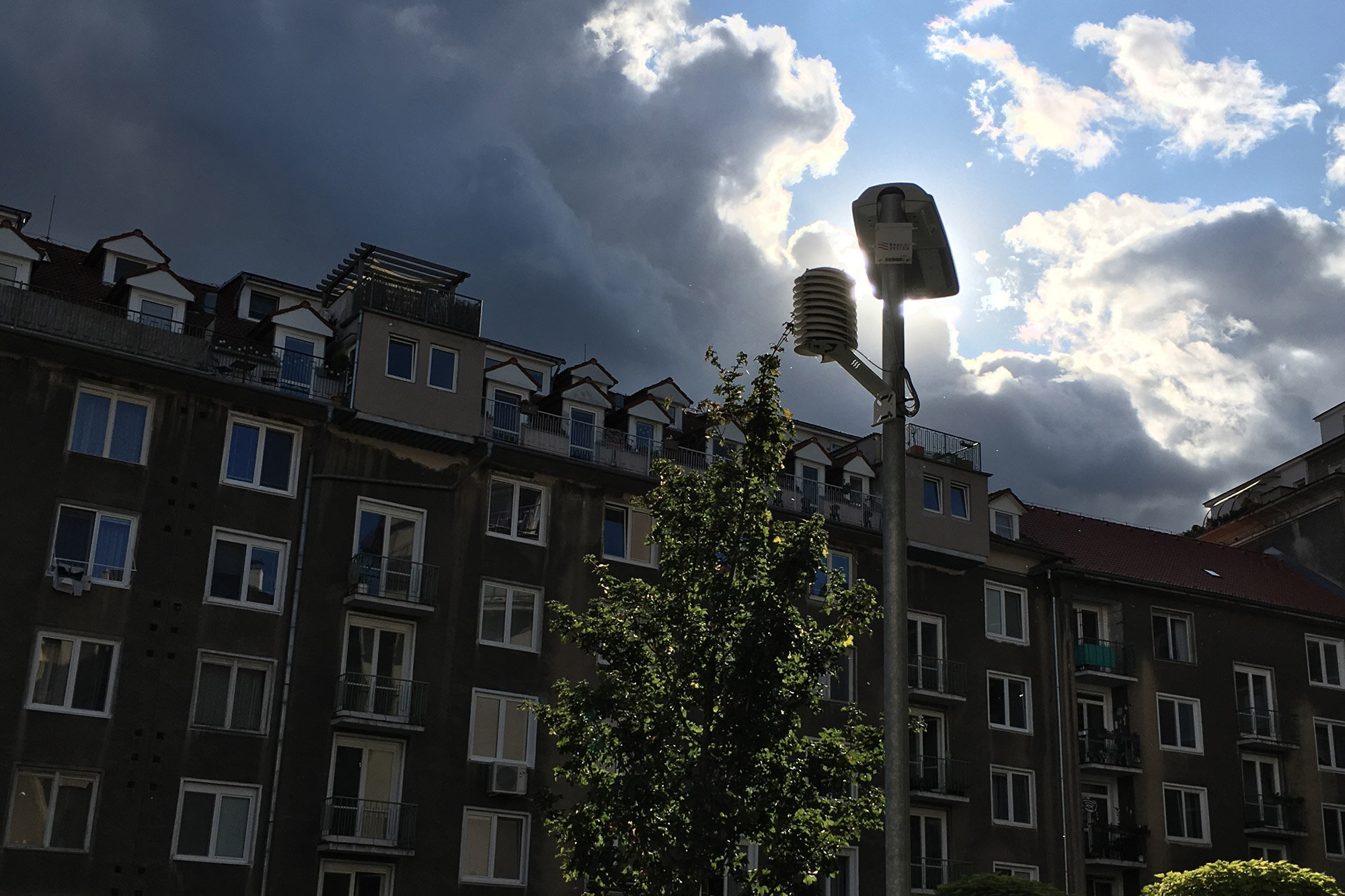 Micro-weather stations on city street light posts