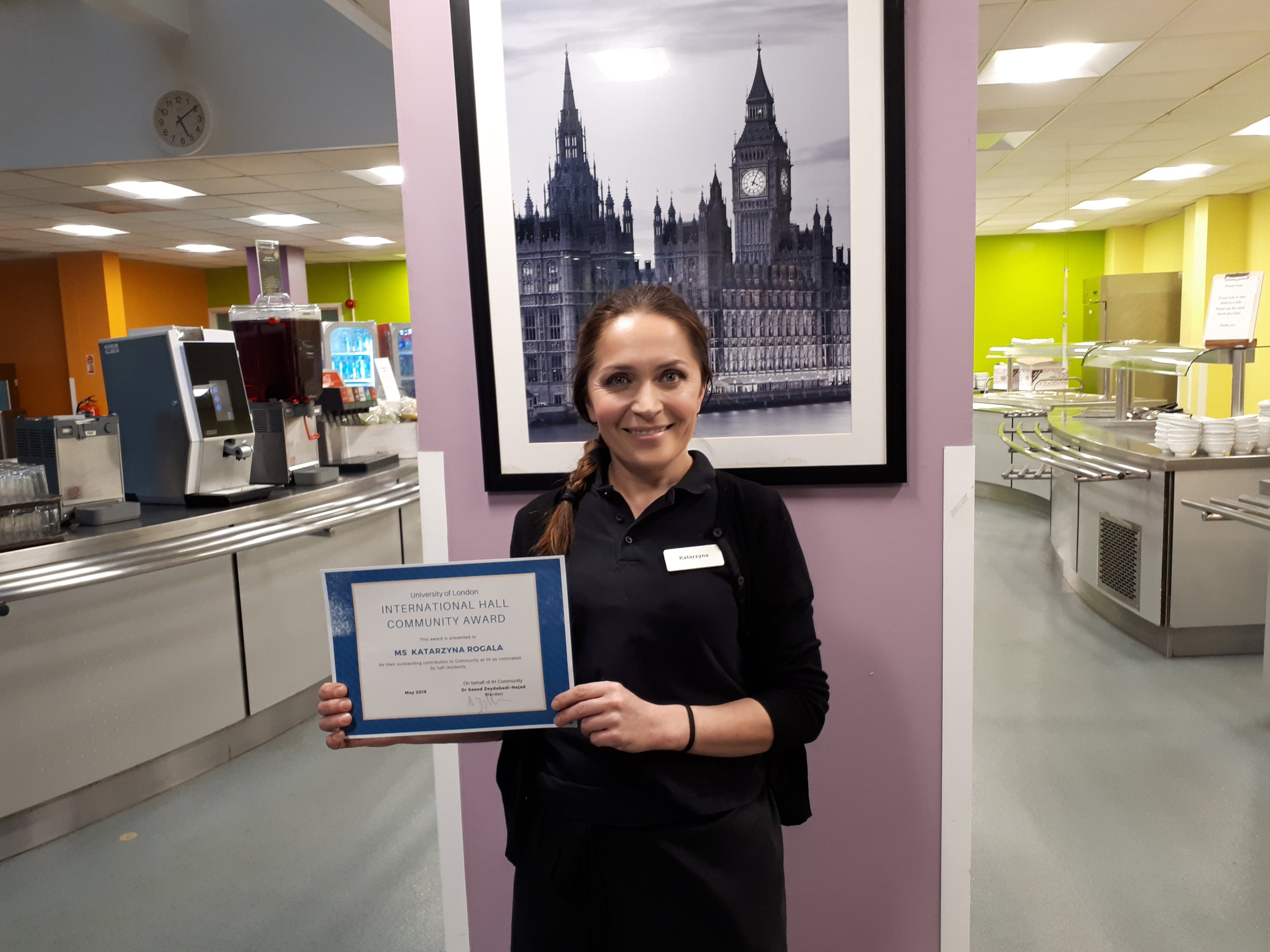 This month's Community Award winner is Katarzyna, one of our weekend catering staff.