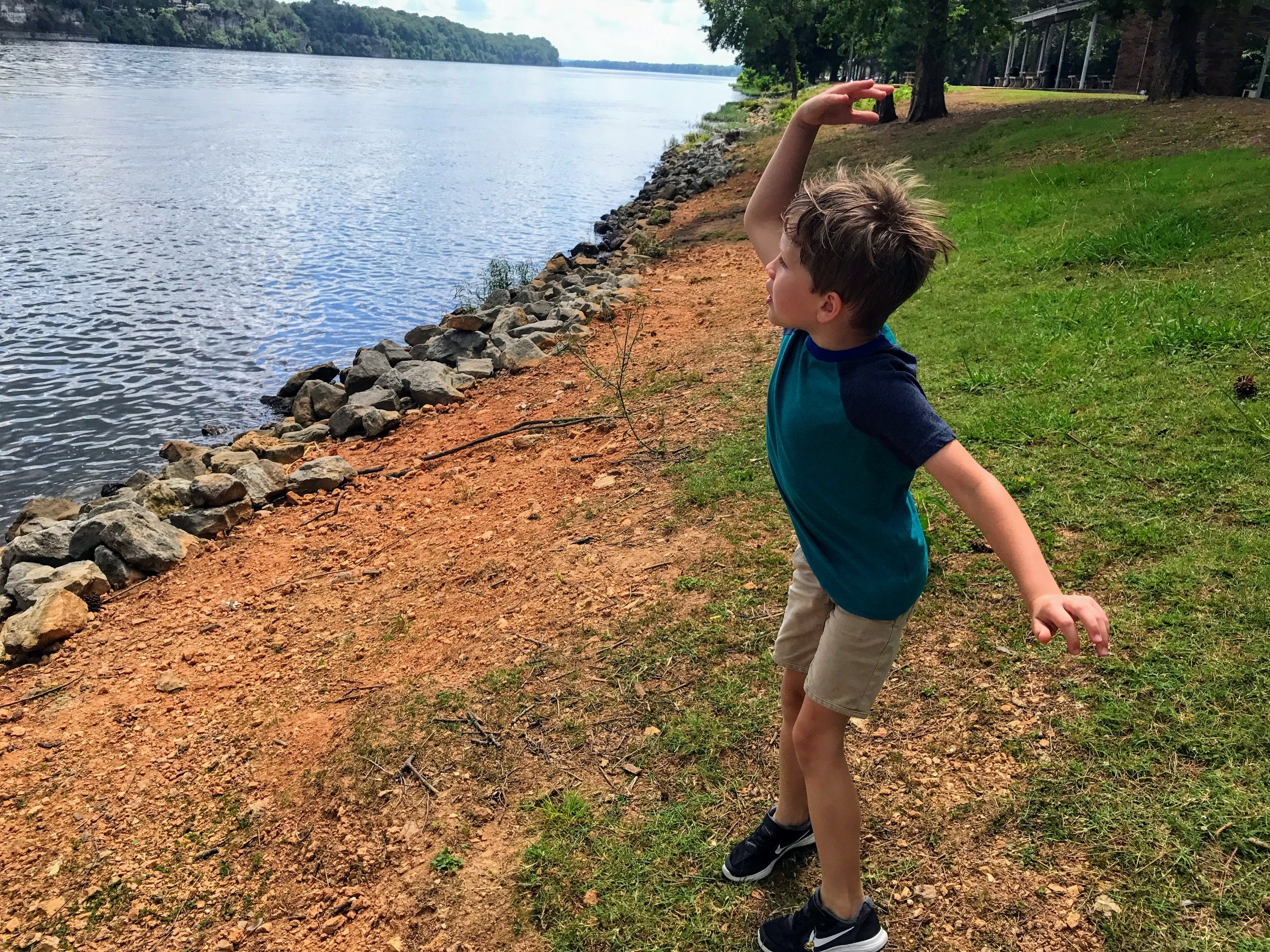 Flinging rocks into the Tennessee River. As one does.