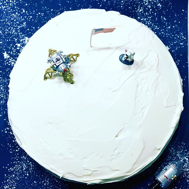 Happy Moon Landing Day! We're celebrating with an Apollo 11-themed Happy Wife Happy Life cake! Thank you @turshen!  Related: I'm only making moon-themed cakes from now on. Buttercream transgressions? Nah, babe - craters.