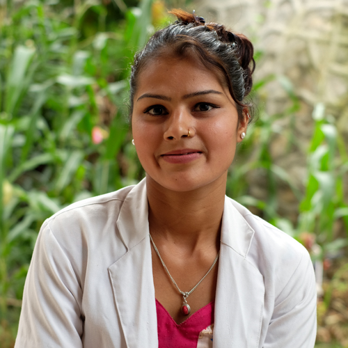 Yashodha Chaulagain Nurse   Yashodha was born in Sindhuli. She completed her ANM from Sindhuli and started working with NHEDF. Now she is doing her Nursing course as well.