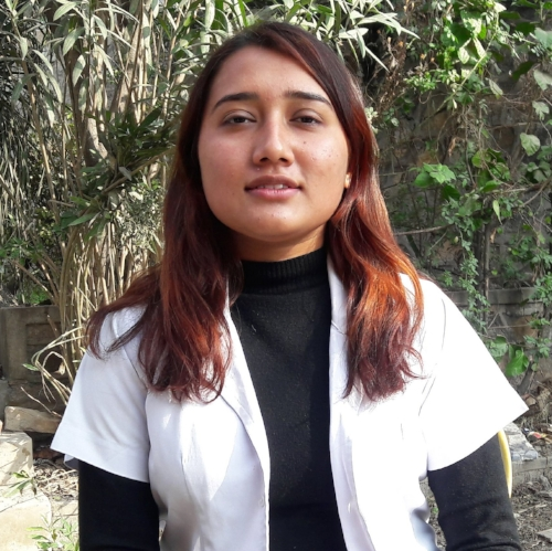 Rajani Thapa Nurse   Rajani was born in Kathmandu. As she is very much interested in the health sector she chose to be a nurse and completed her PCL nursing in the Kathmandu.