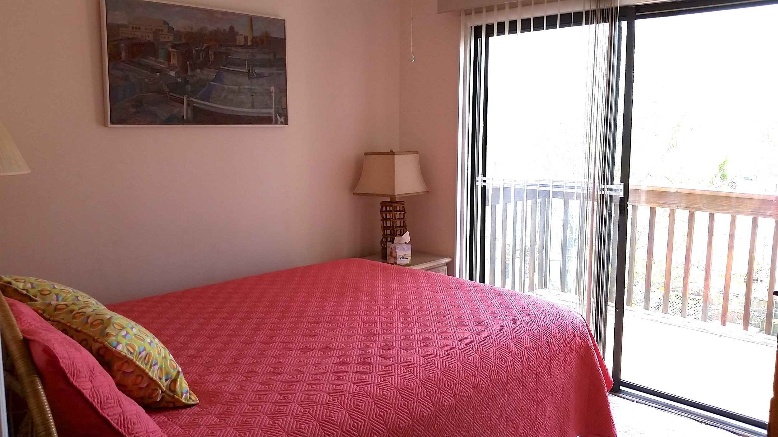 Back Bedroom with Queen Bed, Private Deck and Cable TV
