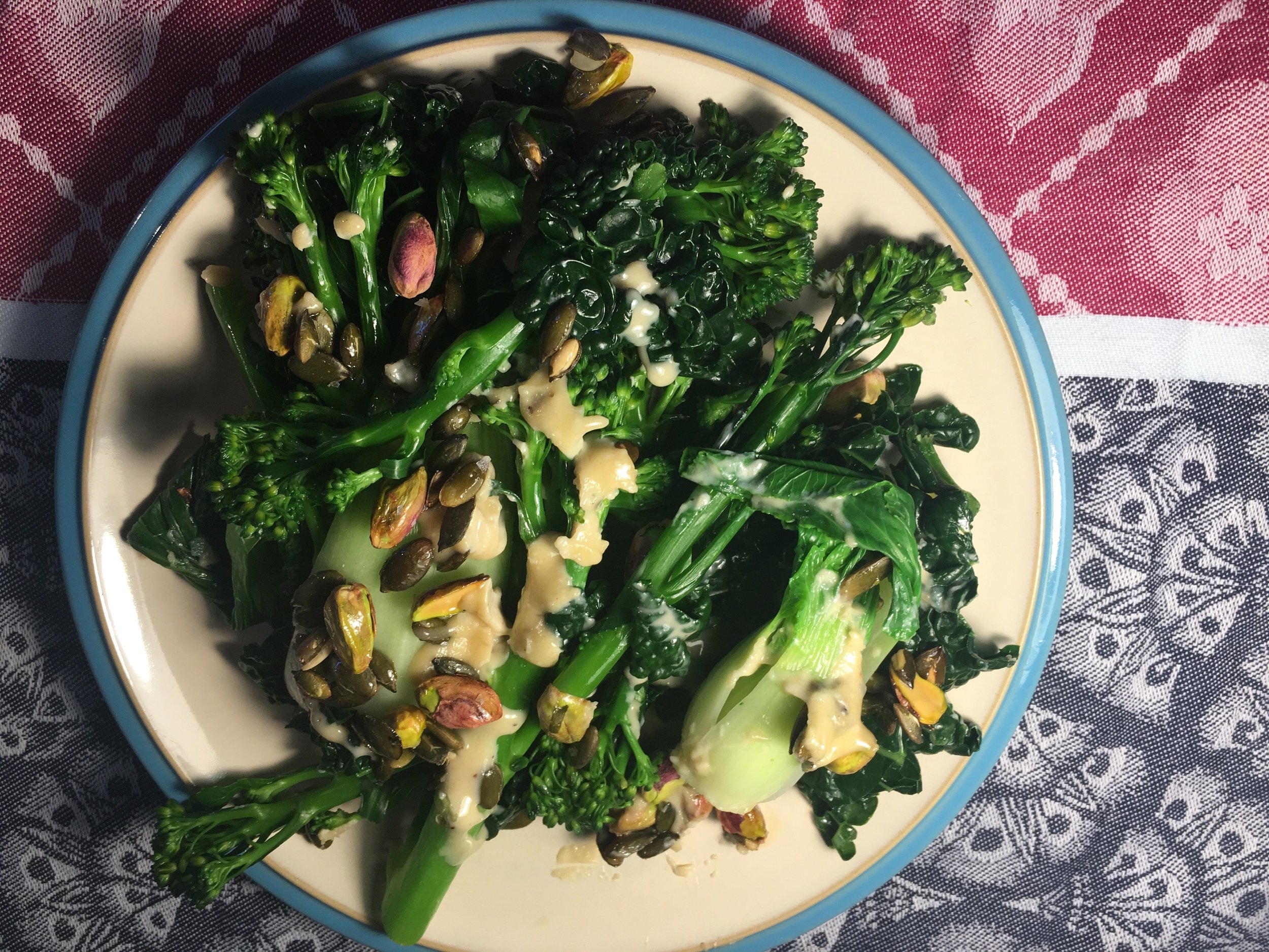Crunchy Greens with Tahini Maple Dressing