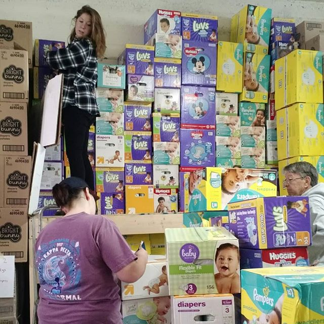 #tbt to Inventory Day 2017. Our volunteers were so quick, we counted all the diapers in the first shift!  #workinghard #mathskillsonpoint #webuiltafort #diaperon #stlregion #changingdiapers #changinglives