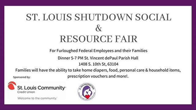 The St Louis Community is coming together to host a really cool event THIS SUNDAY for our neighbors affected by the government shutdown! ~SPREAD THE WORD PEOPLE!!!~ @urbanchestnut @stlfoodbank @opfoodsearch #freefood #livemusic #resources