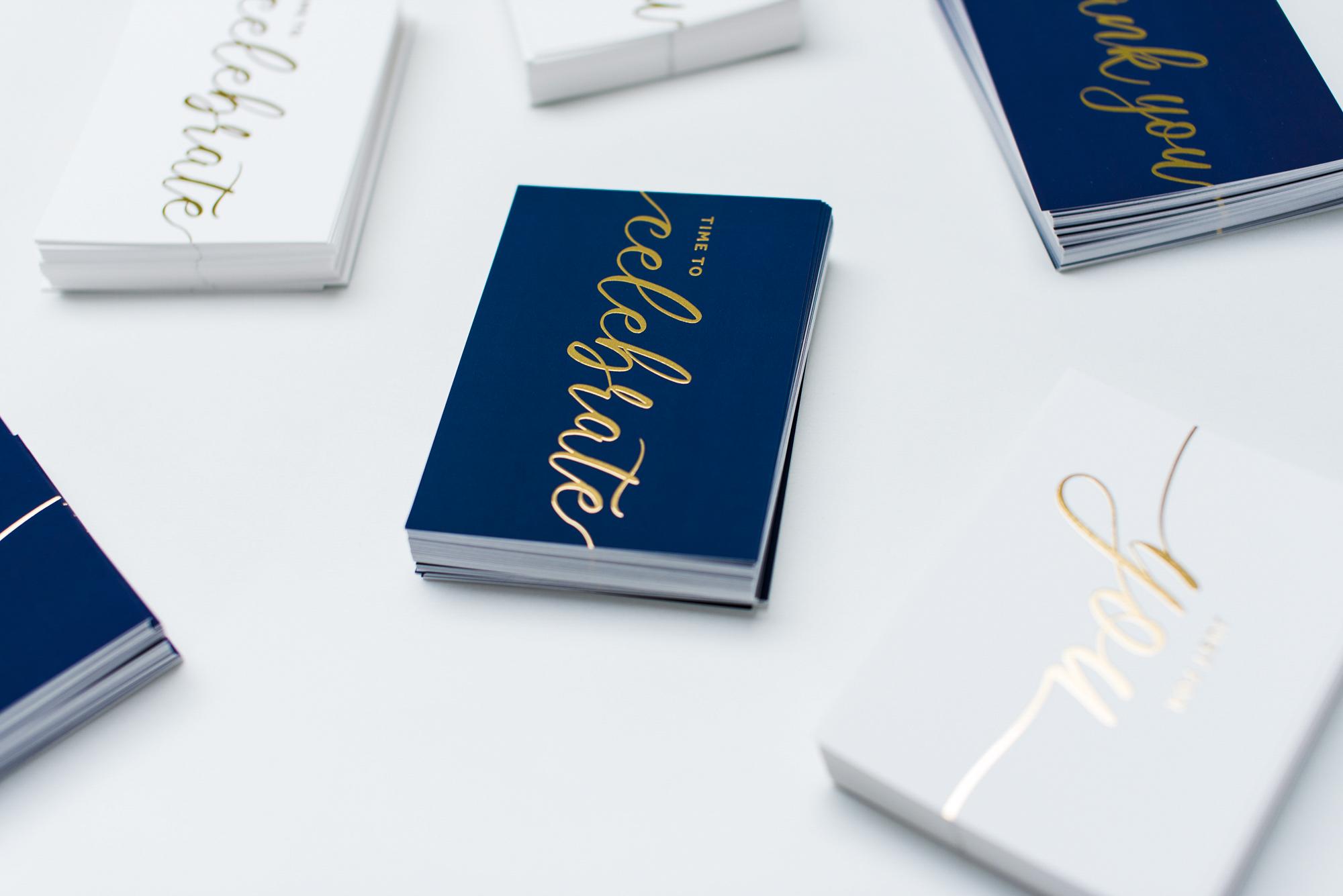 Made to Send gold foil postcard design