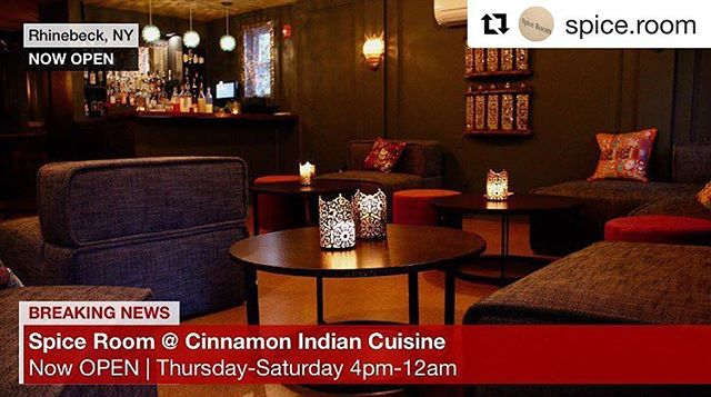 @spice.room @cinnamonrhinebeck  is now open Thursday-Saturday 4pm-12am  #spiceroom #cinnamon #lounge #rhinebeck #local #cocktails #intimate #intimateevents #smallplates #privateparties #nowopen #craftbeer #cocktailden