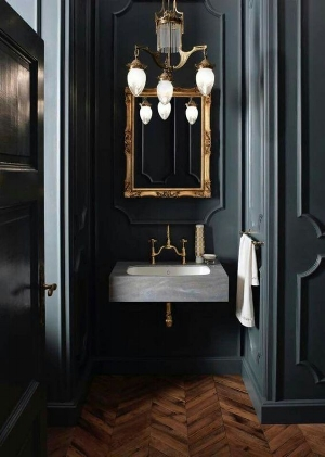 Unexpected color in a powder room (photo Corian basins)