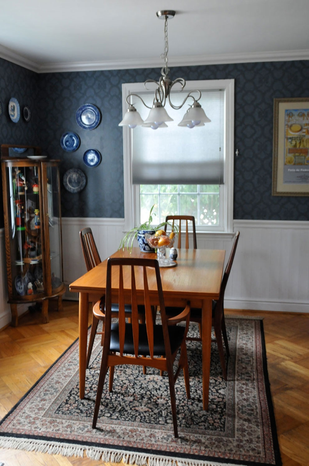 Blue Dining Room - The First upgrade for these new homeowners in Havertown, PA was going from bright green to a soothing blue dining room.