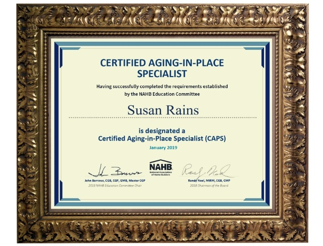 Susan+Rains+Certified+Aging+in+Place+Specialist+CAPS