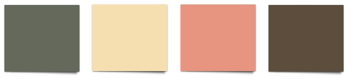 Sherwin Williams Rosemary, Banana Cream, Ravishing Coral, and Status Bronze
