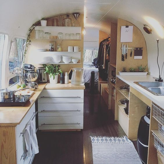 Gorgeous Airstream interior by Zoe Fox of thrive_in_life on Instagram.