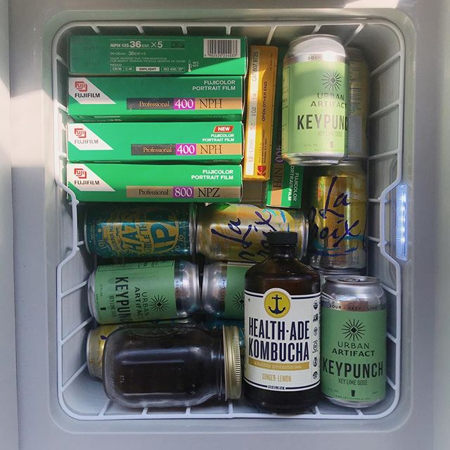 Priorities here in the slow rolling home. 🎞🍻🍹📷 @dometic keeps us cool. 😎  #filmsnotdead #tinyliving #kombuchahunter #lacroixlifestyle #beermeplease #dometic #lifeofadventure