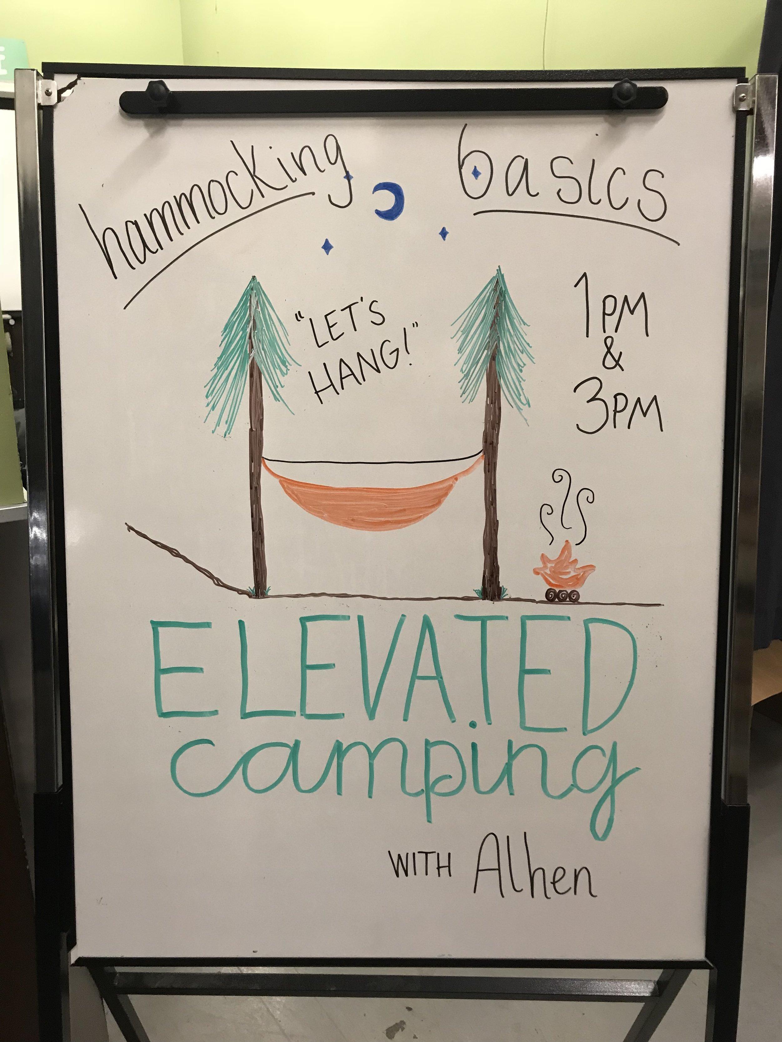 And he began teaching hammock camping workshops!