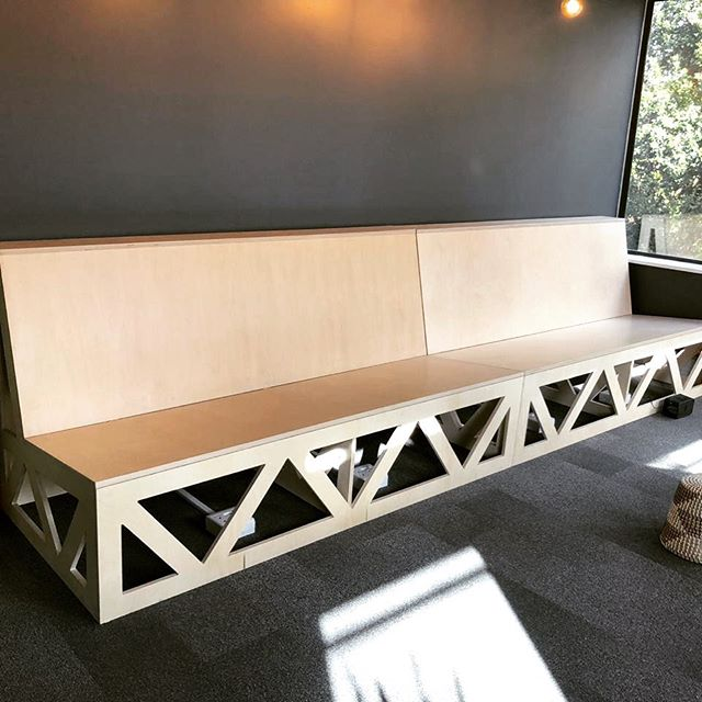 Custom bench designed for booth style seating. Cushions still to come 😉 #bench #booth #seating #couch