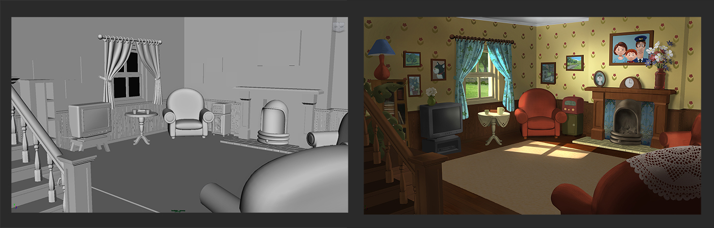 Above, Example of a colour and lighting key painting over the existing CG model.
