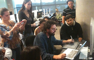 Richard working with CG Artists at The Art Institute of California, North Hollywood. 2013