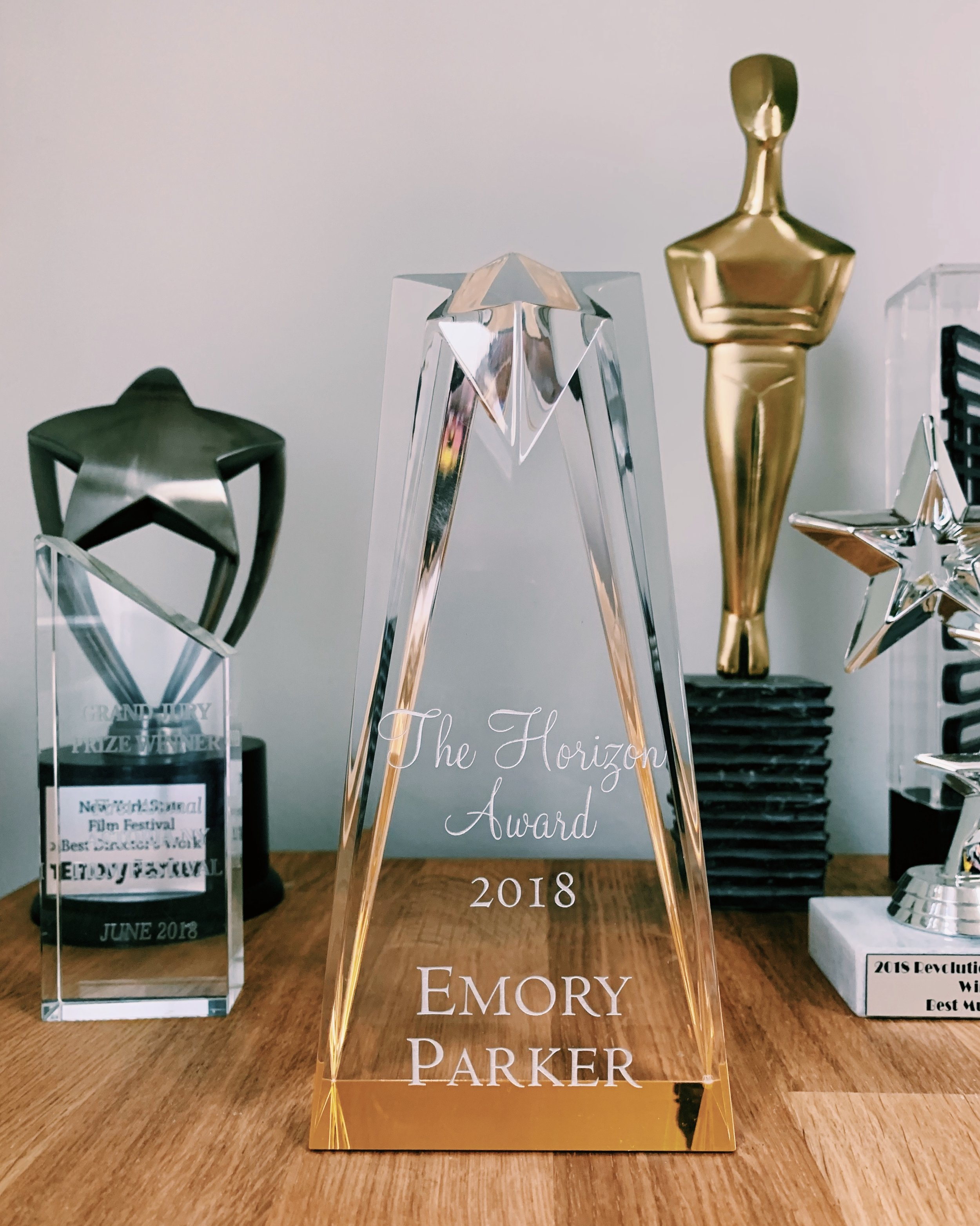 A beautiful trophy from Cassian Elwes and the founders of the Horizon Award.