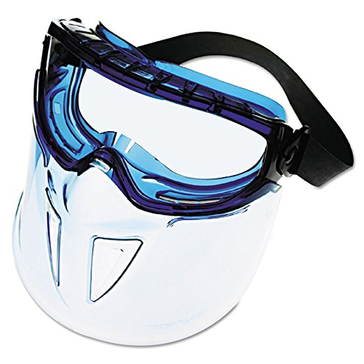 Safety face shield - Features the Monogoggle XTR with indirect ventilation and a polycarbonate shield for full fact protection. Shield detaches from the goggle. Curved face shield conforms to shape of face offering added protection.