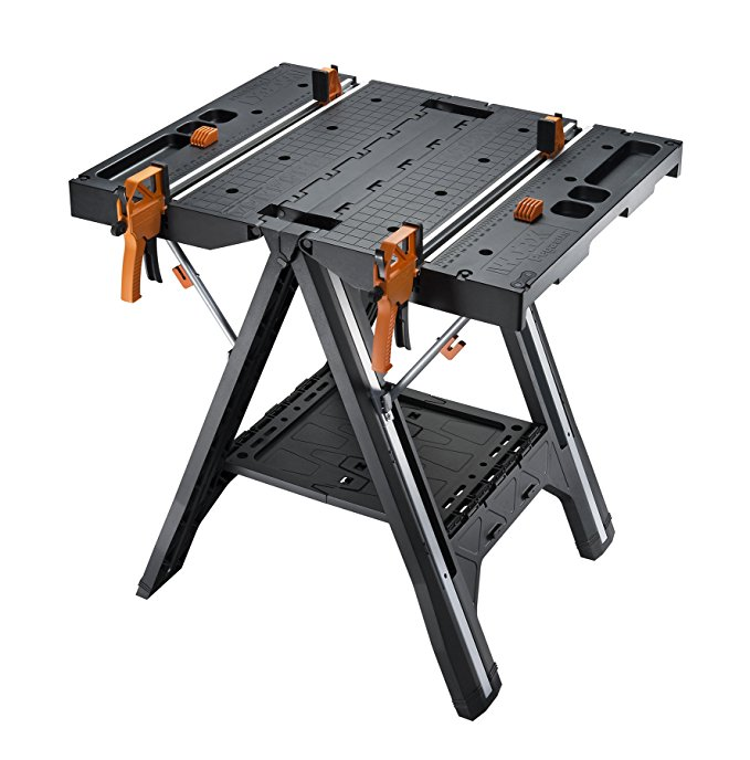 portable work bench with clamps - Take on your favorite projects in whole new way with the innovative WORX Pegasus. The Pegasus is a versatile work station that converts from a table to a sawhorse in seconds. It can be joined with other Pegasus tables to create a larger work surface and includes a dual clamping system to hold an object securely in place.