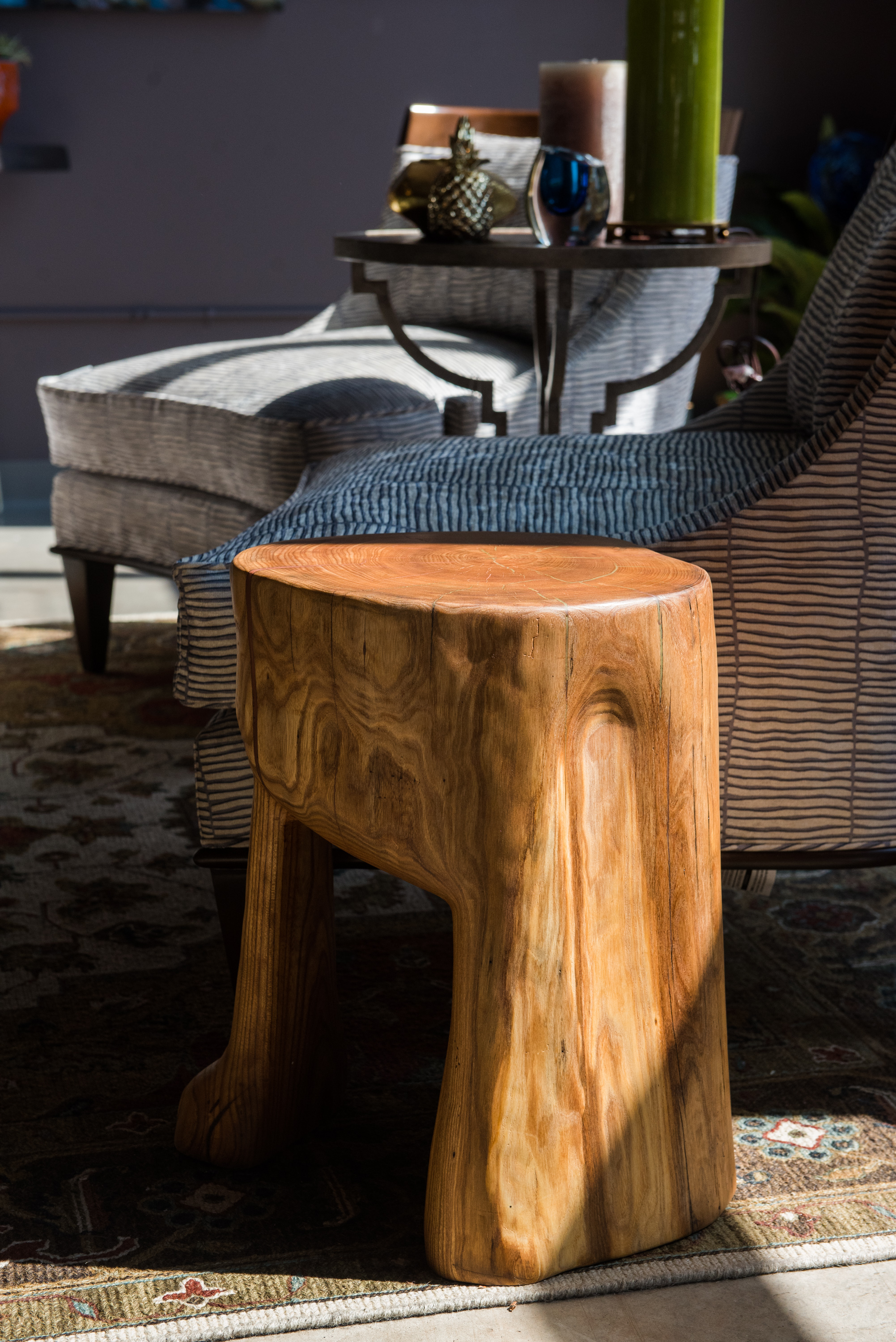 Wood End Table - Cherry wood end table carefully crafted and carved from a single log locally harvested. -
