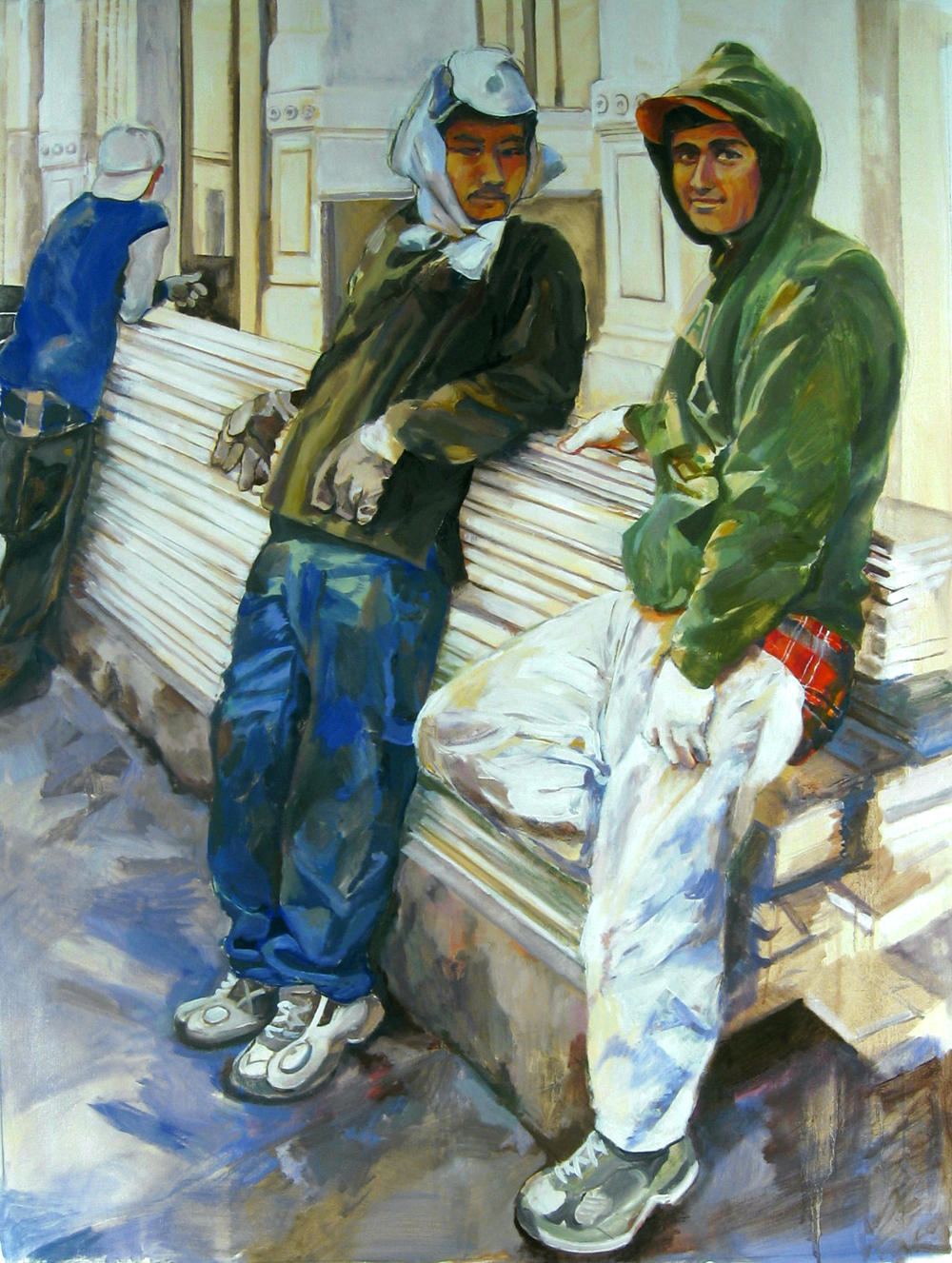 "Working,  2004, oil paint on linen, 56"" x 42"" (private collection)"