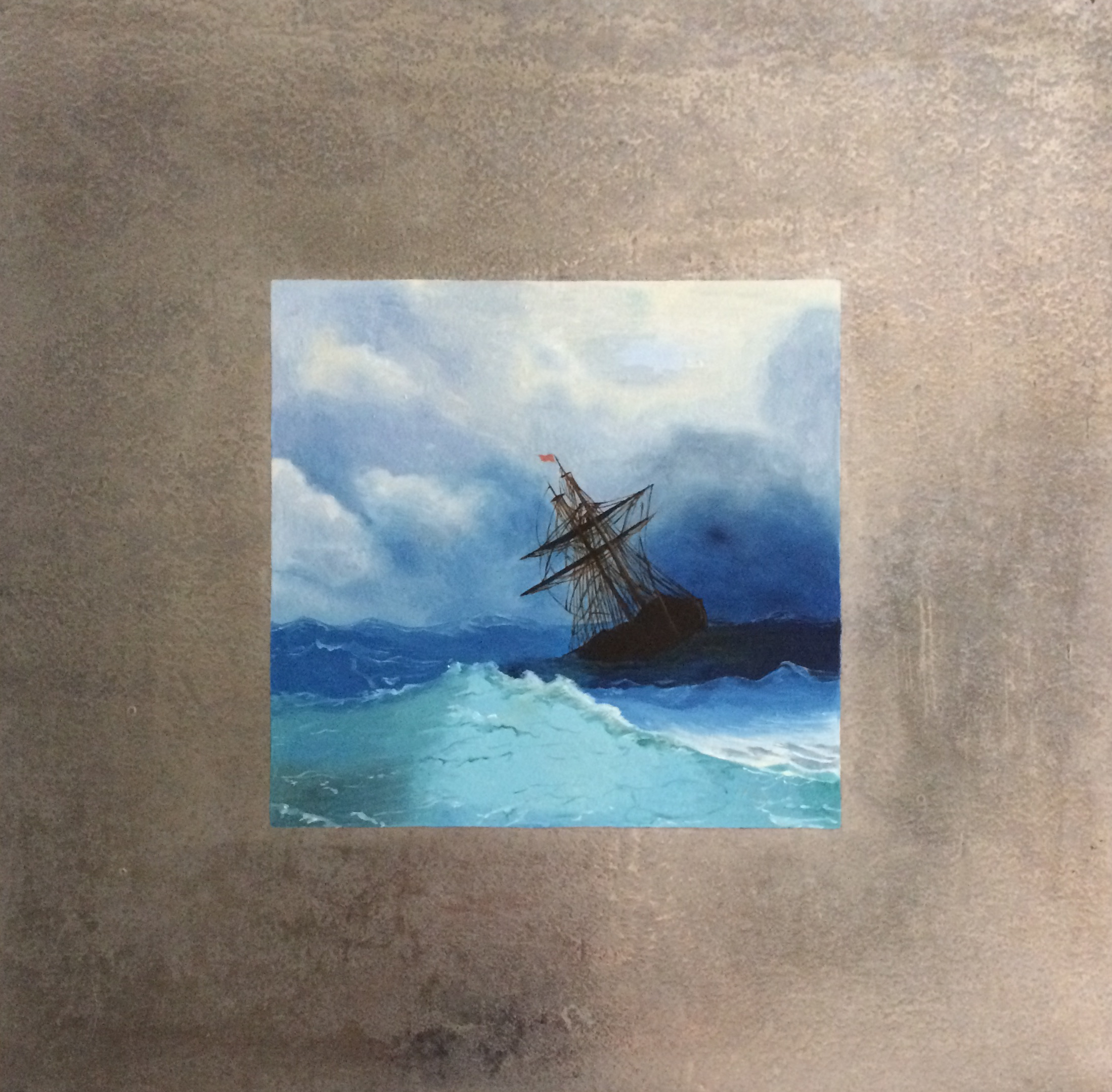 """Stormy Seas ( after Aivazovsky)  oil on aluminum. 16 x 16"""""""