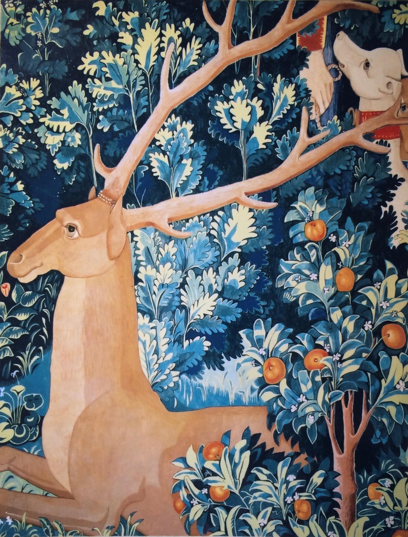 Unicorn tapestry murals