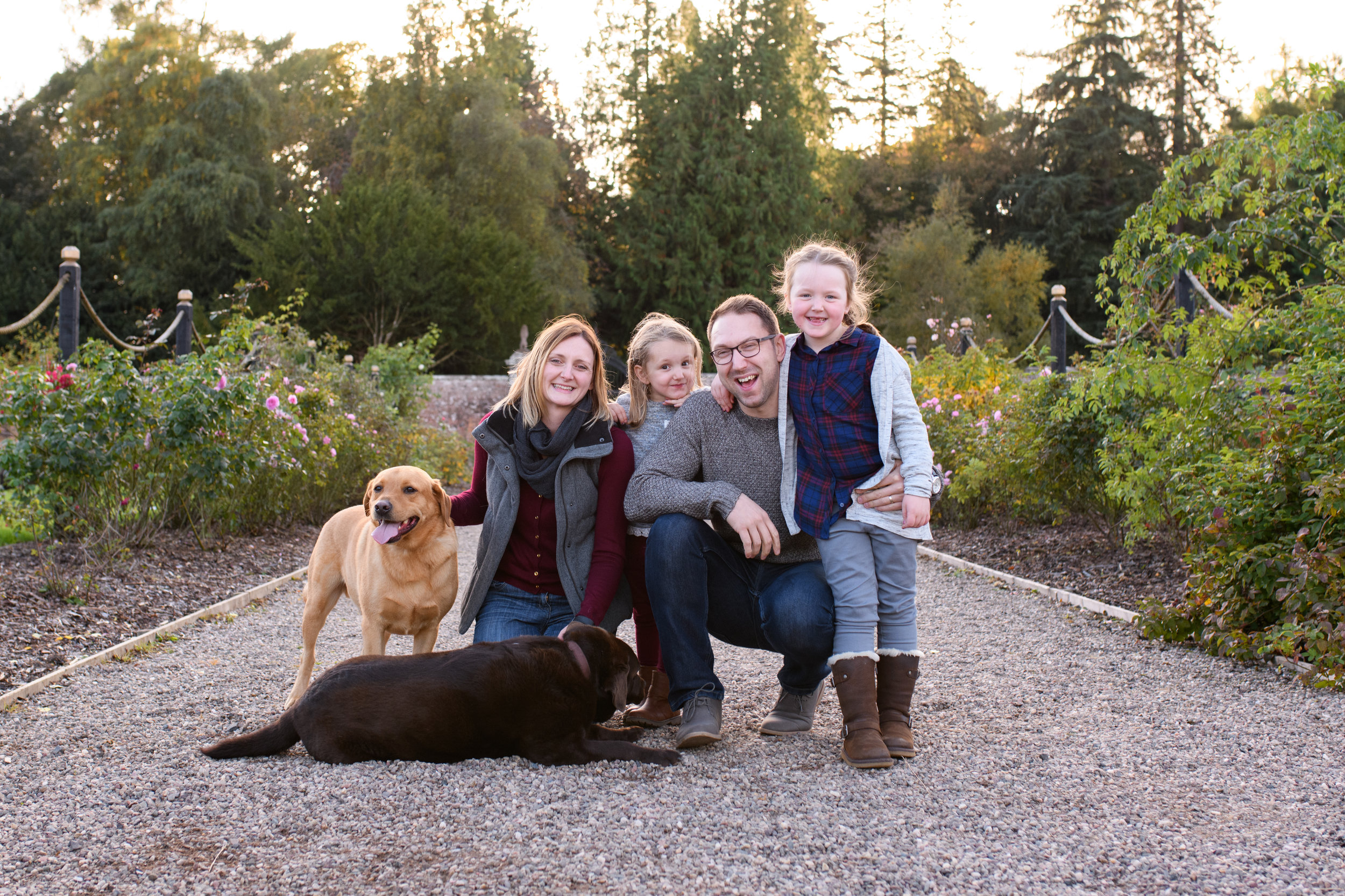 Family includes fury babies too! Walled Garden, Glamis Castle