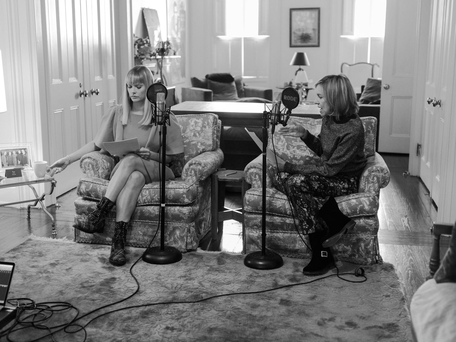 A Different Tweed  Co-hosts Mosha Lundstrom Halbert & Bronwyn Cosgrave recording in New York City. Photo: Mark Sommerfeld.