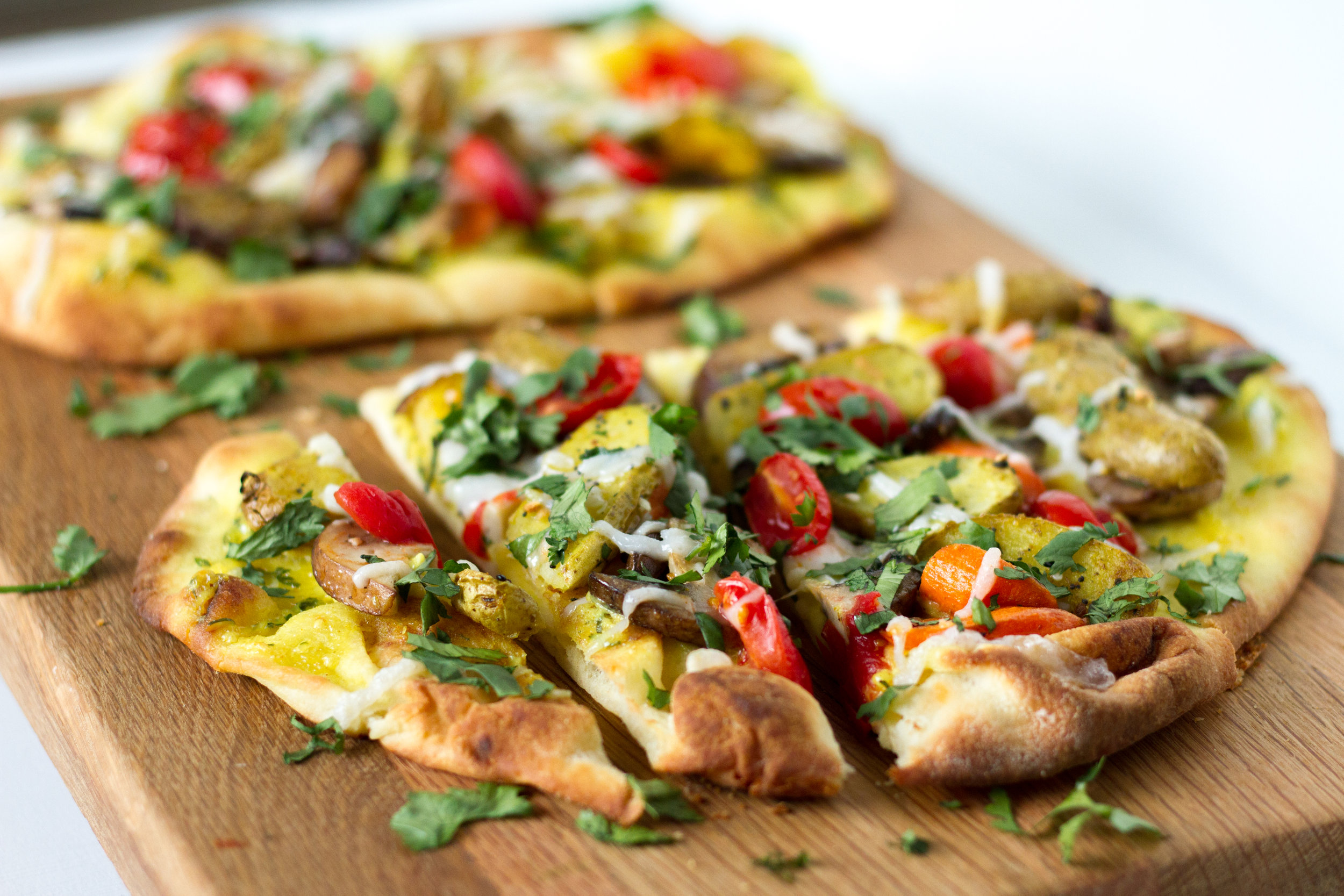 Curried Fingerling Potato and Garlic Oyster Mushroom Naan Pizza