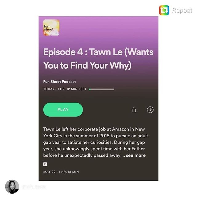 We've been following @thinh_tawn during her #adultgapyear - and now she's dishing all about her experience over on the @funshootpodcast ! If you've considered taking a break, switching careers, traveling the world, or just getting in touch with your best self, tune in NOW! The link's in their bios 😉