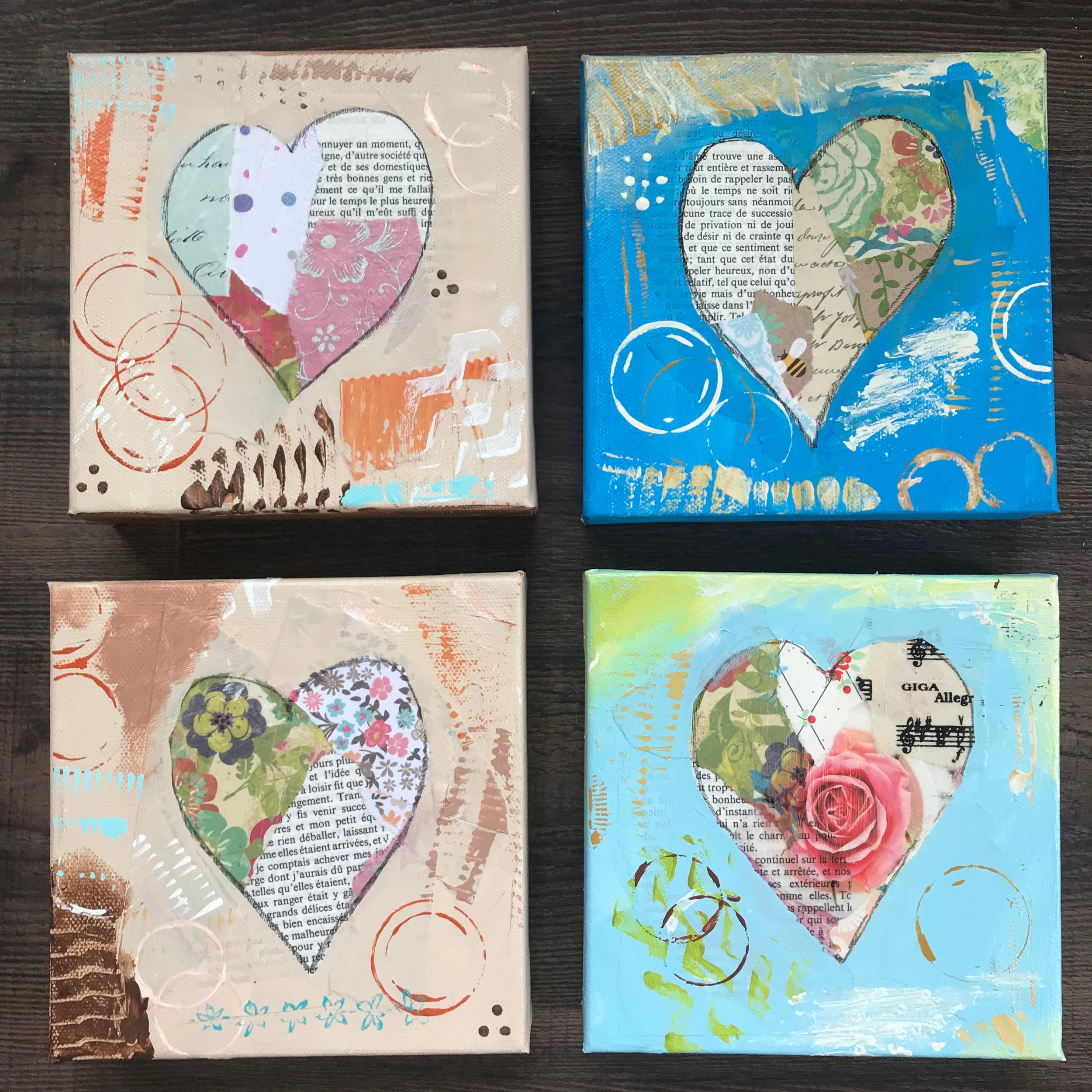 "Here's a look at some of those small heart pieces. These are 6"" square."