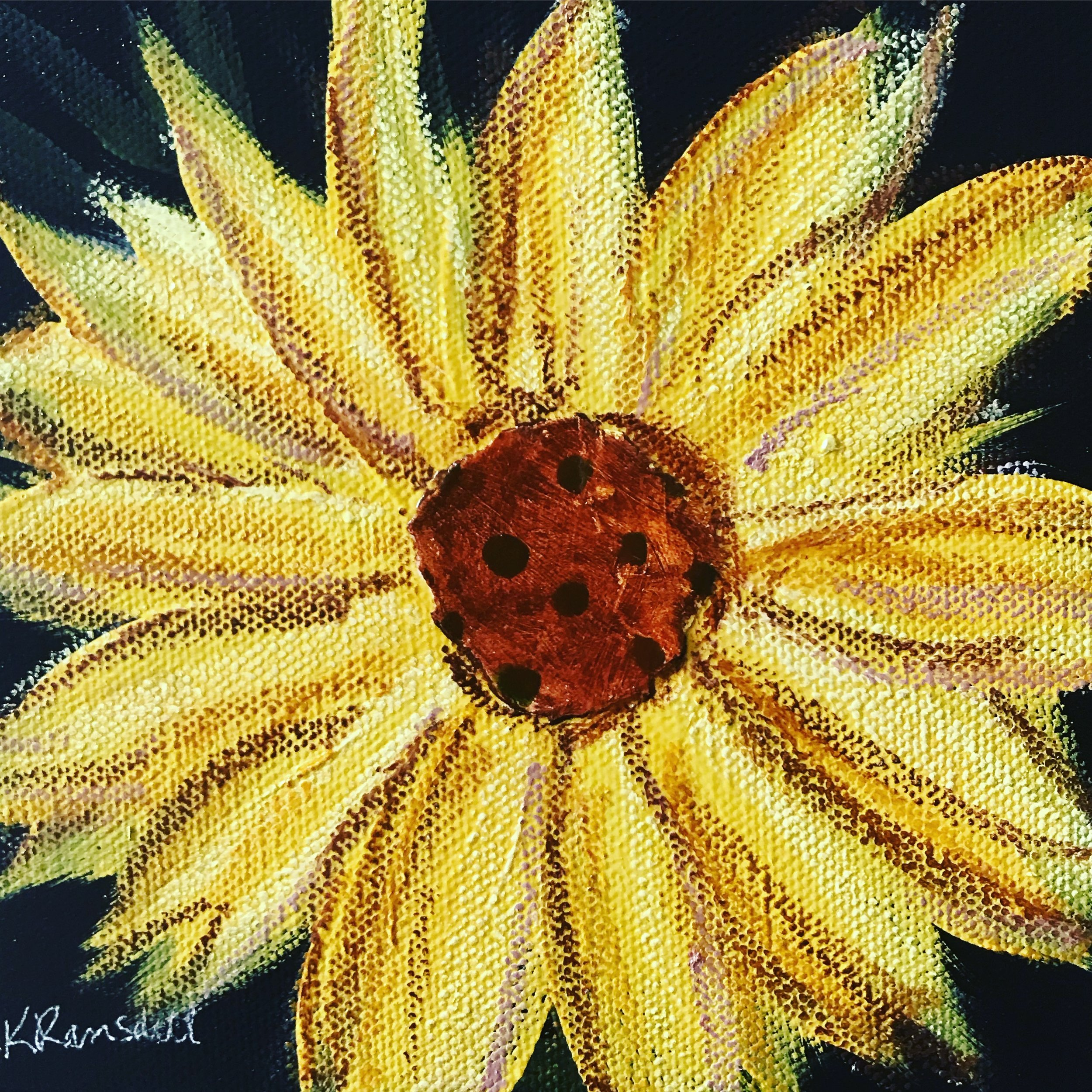 "A 6"" square canvas with a mixed media sunflower."