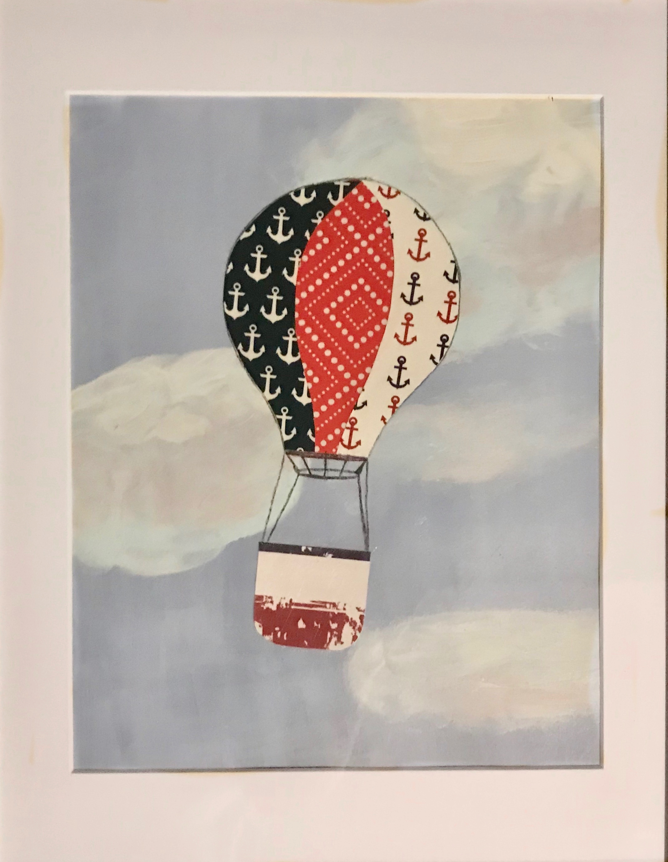 """Soaring"" An original mixed-media collage on watercolor paper, comes matted and framed. $64"