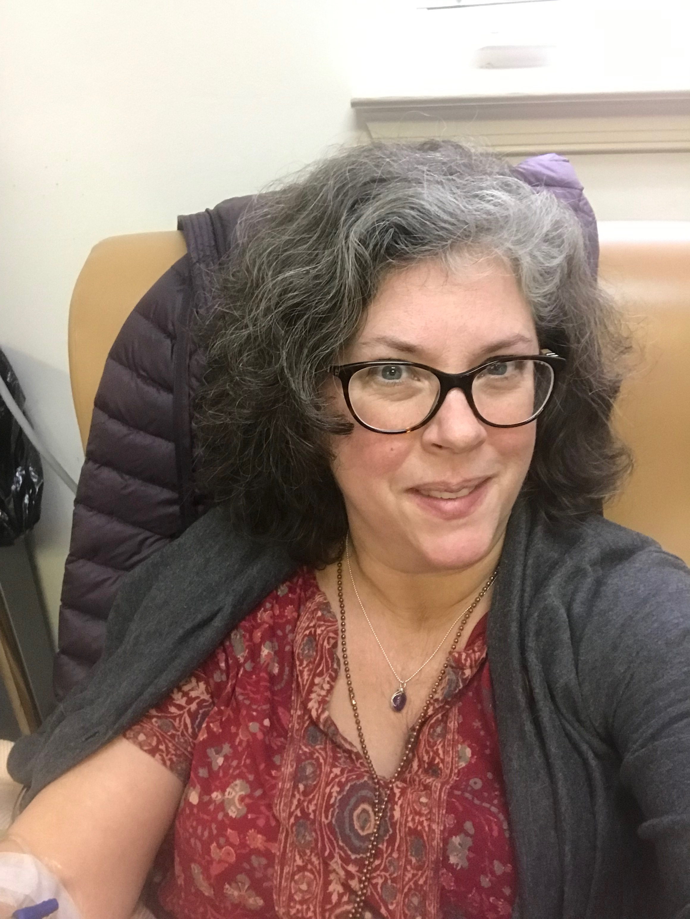 Here's me on Tuesday, choosing to be happy during my regular IV treatment for rheumatoid arthritis.
