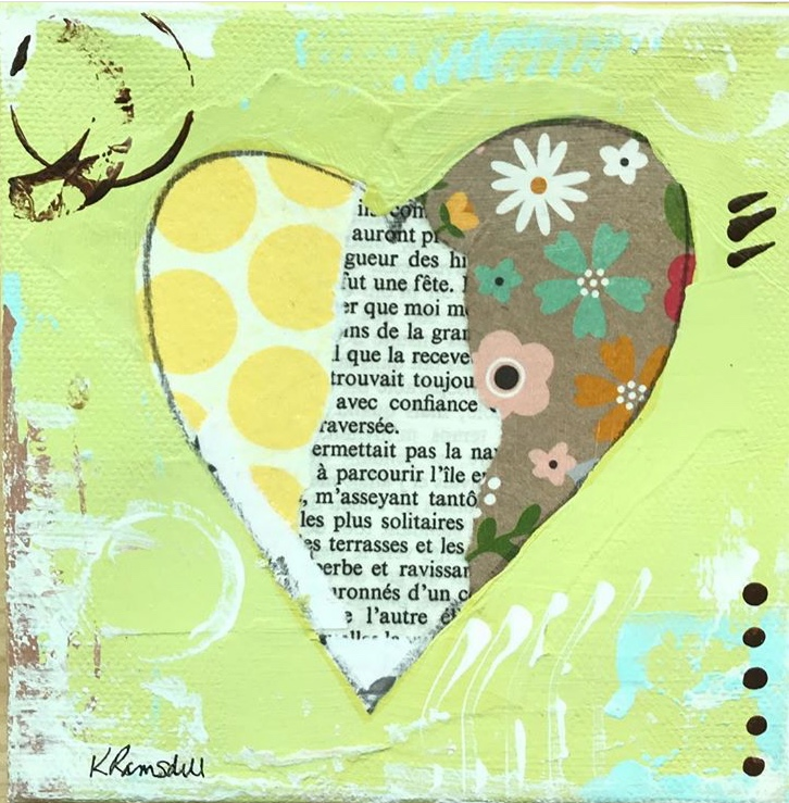 "A 5"" square heart collage in spring colors."