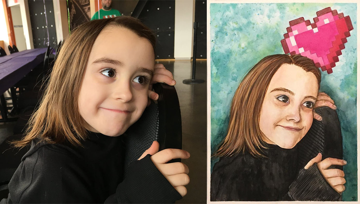 Reference and finished portrait of an 8-year old who loves video games!